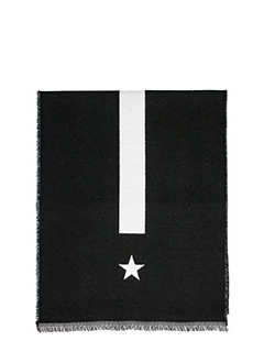 Givenchy-Star printed scarf in black wool