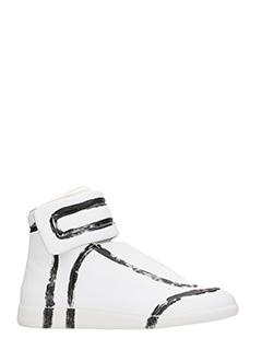 Maison Margiela-Sneakers alte Future in pelle bianca nera