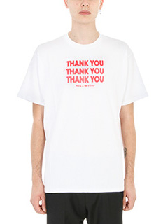 Raf Simons-T-shirt Thank You in cotone bianco