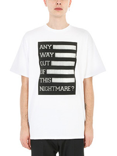 Raf Simons-T-shirt Any Way Out in cotone bianco