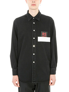 Raf Simons-Camicia RS Carry Over in denim nero