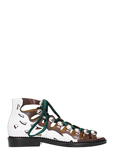 Toga Pulla-Sandali cut out in pelle marrone bianca