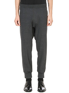 Neil Barrett-elasticated waistband grey wool pants