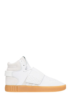 Adidas-Sneakers Tubular Invader in pelle e suede bianco