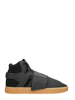 Adidas-Sneakers Tubular Invader in pelle e suede nero