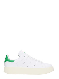 Adidas-Sneakers Stan Smith Bold in pelle bianca e verde