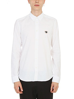 Kenzo-Camicia Eye Embroidered in cotone bianco