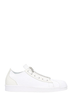 Y-3-Super Zip white leather sneakers