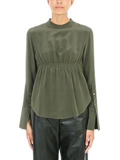 Neil Barrett-Silk olive blouse