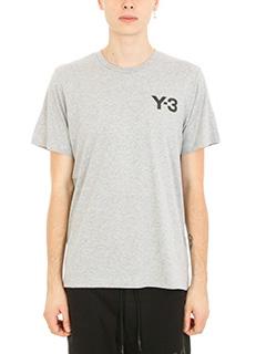 Y-3-T-shirt Logo in cotone grigio