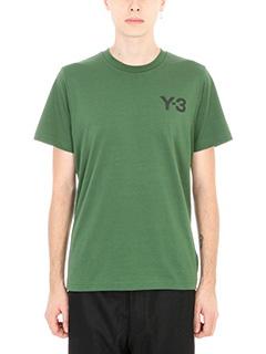 Y-3-T-shirt Logo in cotone verde