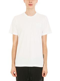 Y-3-T-shirt Logo in cotone bianco