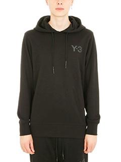 Y-3-Felpa Logo in cotone nero