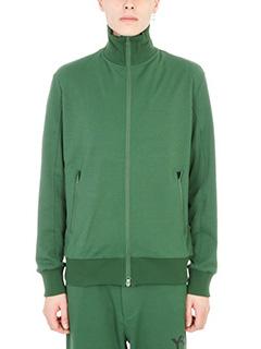 Y-3-Felpa Zipped in cotone verde