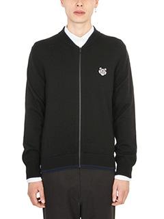 Kenzo-Zipped Tiger Crest Black wool cardigan