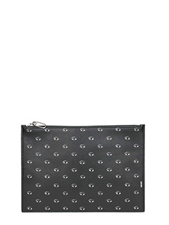 Kenzo-Pochette Kenzo All Over Eyes  in pelle nera