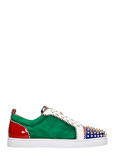Christian Louboutin-Sneakers Louis Junior in pelle e suede verde