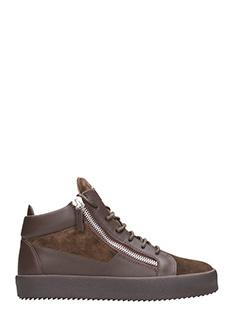 Giuseppe Zanotti-Sneakers Keith Mid Top in pelle e camoscio marrone