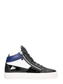 Giuseppe Zanotti-Sneakers Jimbo Mid Top in pelle e vernice nera bianca blue