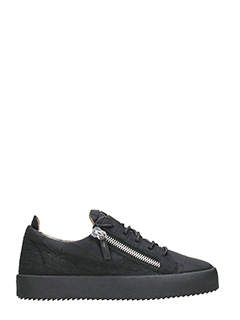 Giuseppe Zanotti-Black crocodile embossed low  sneaker