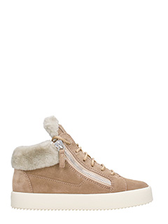 Giuseppe Zanotti-Brown shearling and suede sneakers