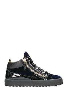 Giuseppe Zanotti-Sneakers Kriss mid top in vernice e velluto nero blu
