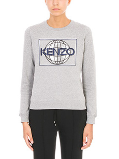 Kenzo-Feloa Logo in cotone grigio