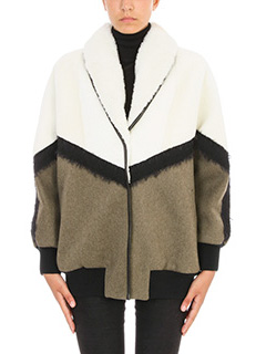 Drome-White and green leather bomber