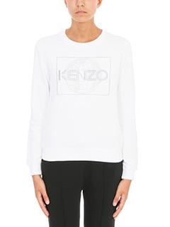 Kenzo-Felpa Logo in cotone bianco