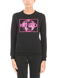 Kenzo-Felpa Logo in cotone nero