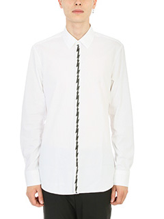 Neil Barrett-Camicia Graphic Lightning in cotone bianco