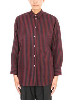 Iro-Camicia camille in cotone a righe bordeaux nero
