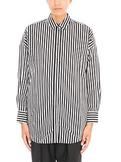 Iro-Camicia Camille in cotone a righe bianco nero