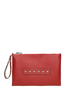 Red Valentino-red calf leather star studded clutch