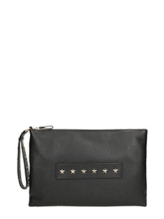 Red Valentino-black calf leather star studded clutch