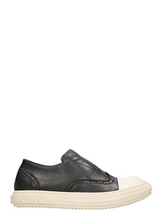 D.Gnak-Oxford Slip On Black Leather Sneakers