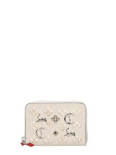 Christian Louboutin-Portamonete Panettone Zipped in pelle beige