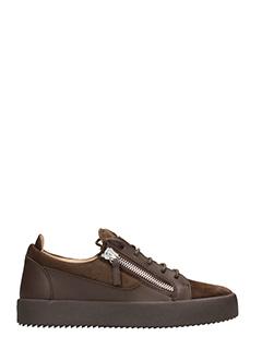 Giuseppe Zanotti-Sneakers Low Frankie in suede e pelle marrone