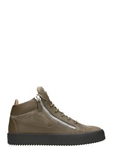 Giuseppe Zanotti-Sneakers Kriss Mid top in pelle e suede verde