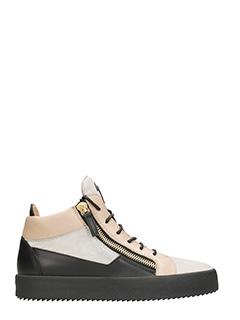 Giuseppe Zanotti-Sneakers Jimbo Mid Top in pelle e vernice nera bianca beige