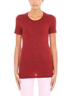 Isabel Marant Etoile-T-Shirt Kiliann in lino bordeaux