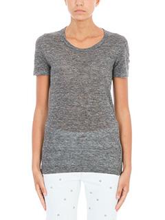 Isabel Marant Etoile-T-Shirt Kiliann in lino grigio
