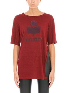 Isabel Marant Etoile-T-Shirt Kuta in lino e cotone bordeaux