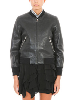 Isabel Marant Etoile-Kanna black Textured leather bomber jacket