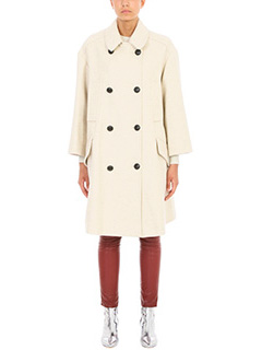 Isabel Marant Etoile-Flicka  Beige wool coat. long sleeves. Snap closure. Three open pockets. One interior open pocket. Tear on the back