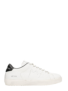 Leather Crown-Sneakers low lc06 in pelle bianca