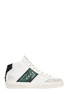 Leather Crown-Studs white hi sneakers
