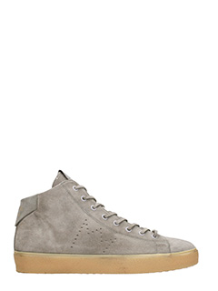 Leather Crown-Sneakers in camoscio grigio