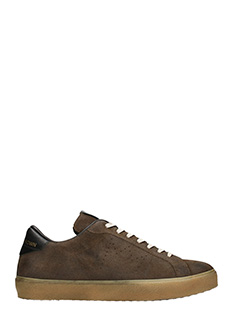Leather Crown-Sneakers OneSide in camoscio e tessuto marrone