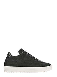 Leather Crown-low onesid black leather sneakers